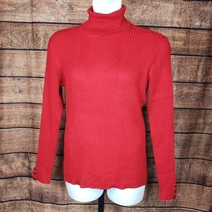 NWT Style & Co RED Turtleneck Rib Knit Sweater XL
